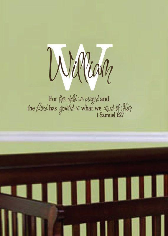 1 Samuel 127  For this child we prayed  Monogram by WildEyesSigns, $40.00