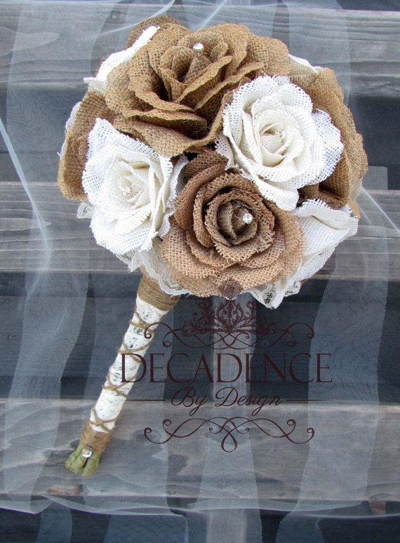 Burlap Bouquet Burlap Rose Bouquet Cottage by DecadenceByDesign