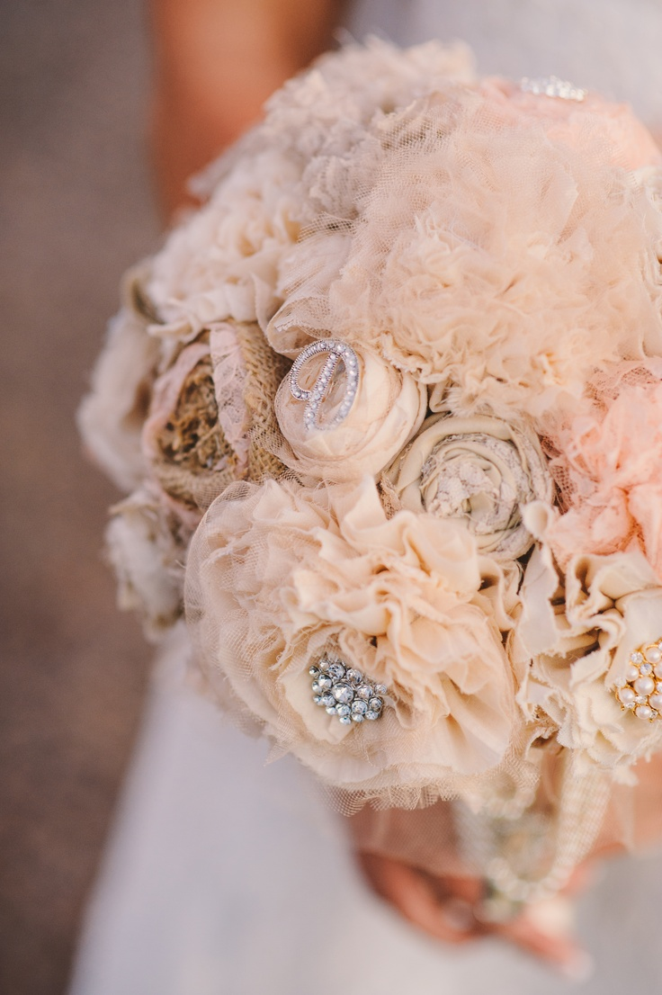 The 697 best brooch beaded and fabric flower bouquets images on brides bouquet made of fabric florals and antique buttons and broaches izmirmasajfo