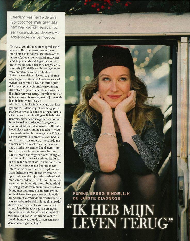 Interview uit Libelle met Femke de Grijs over B12 tekort.