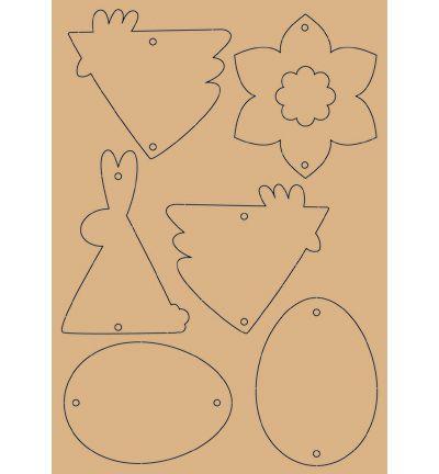 Pasen - Uitdrukfiguurtjes - - uitdrukbare houten decoratie pasen 2