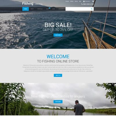 Fishing Online Store Parallax WooCommerce Template