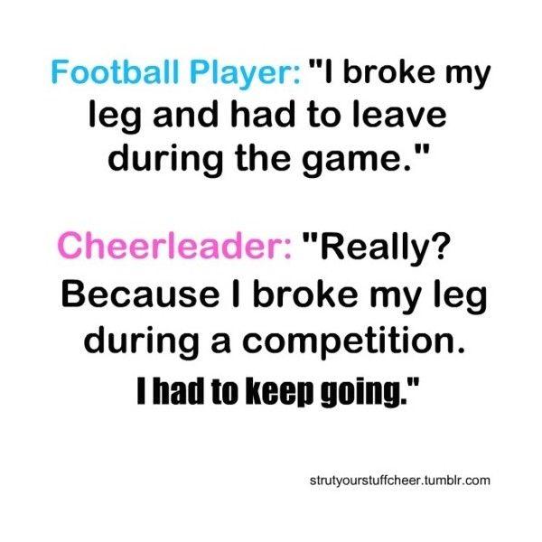 cheer quote ❤ hahaha so funny cause I know football players(: hahaha