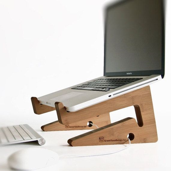 bamboo wood laptop stand / laptop riser: beautiful simple and functional design! Use as docking station and space saving desk organizer