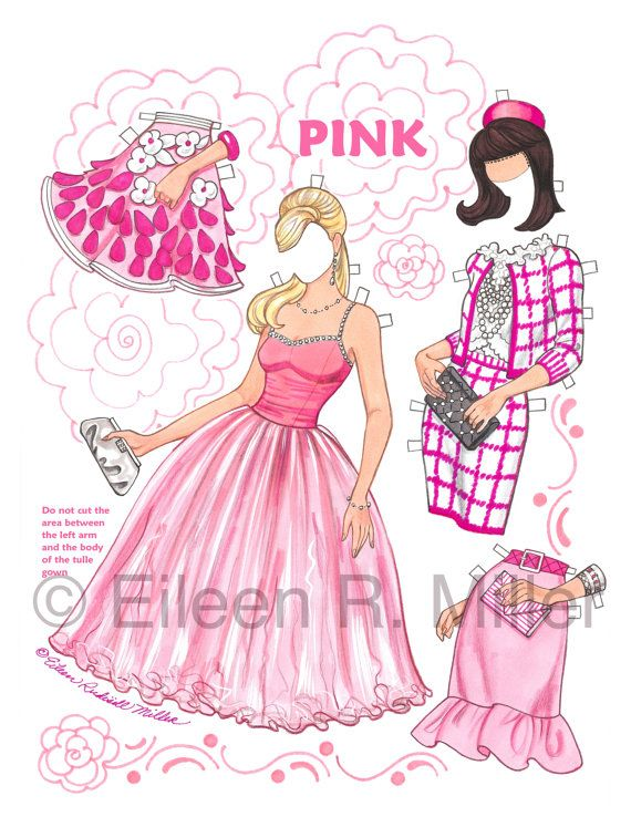 Pink Paper Doll by PaperDollsbyERMiller on Etsy