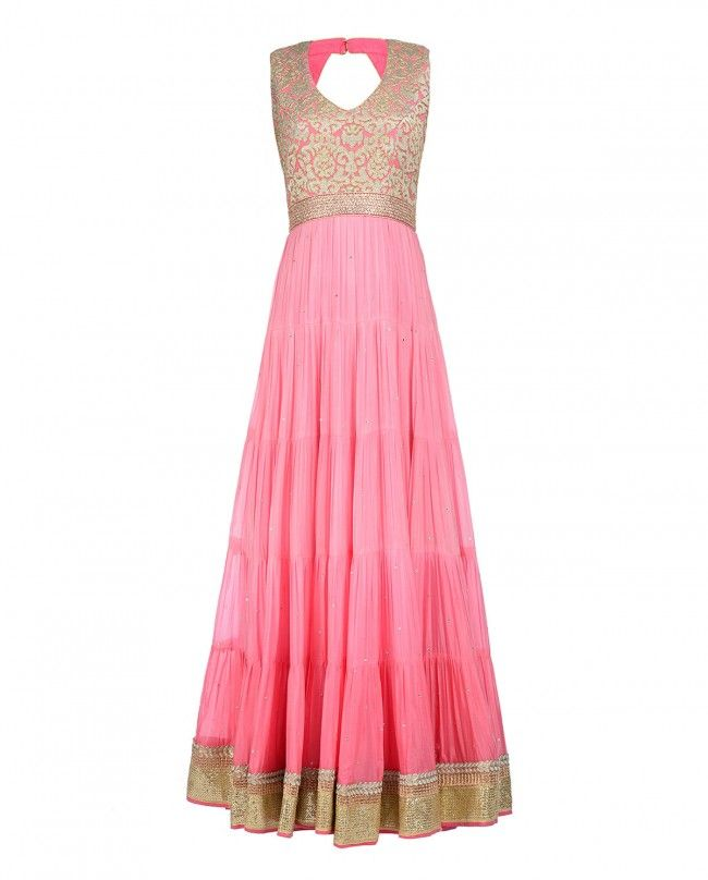 Ombre Baby Pink Anarkali Suit with Embellished Bodice