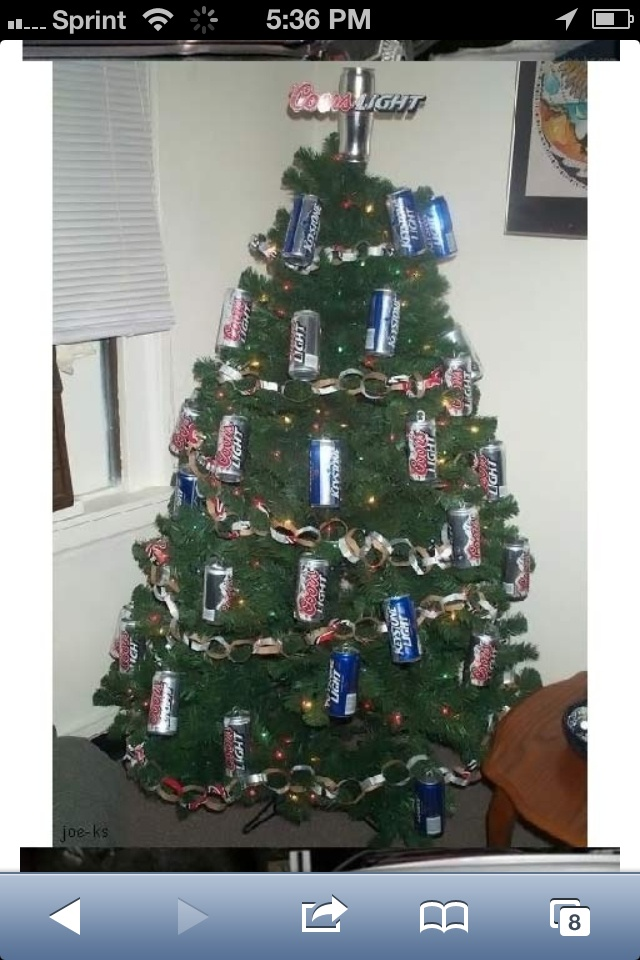 Unusual Christmas Party Ideas Part - 44: Beer Can Christmas Tree Decorations