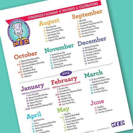 Keep this handy reference guide nearby so you can celebrate the important (and not-so-important) dates all school year long.