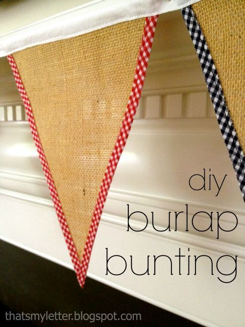 "That's My Letter: ""B"" is for Burlap Bunting #2, primary gingham trimmed burlap bunting"