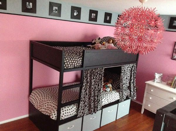 IKEA Bunk Bed Hack. But I mostly pinned this bc I LOVE the frames with pics as border around the top of the room! Great idea!