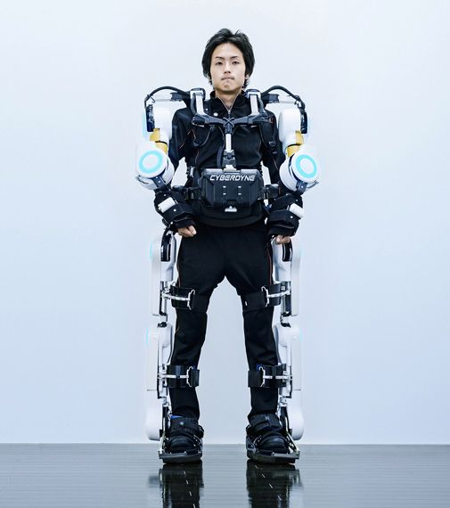 Japanese robotics company Cyberdyne began their Hybrid Assistive Limb, or HAL trials in 2012. A powered exoskeleton endeavoring to turn humans into cyborg-type robots.