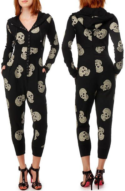 0e760dc2fc22 Rihanna in Betsey Johnson Skull Thermo Jumpsuit