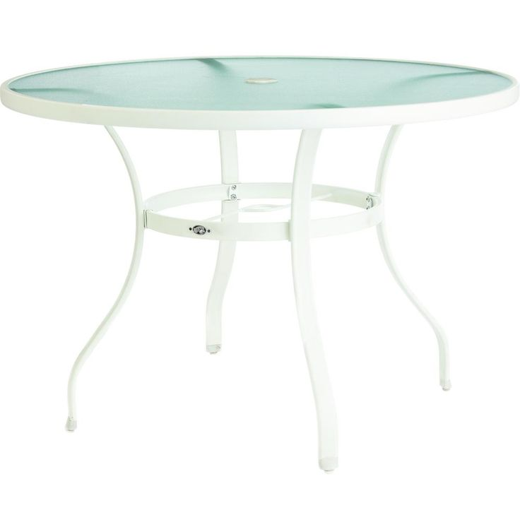 Outdoor Dining Table, Round Glass Patio Table