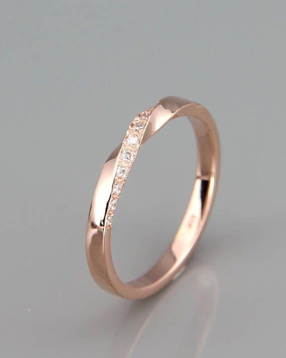 ✿ BESCHREIBUNG Handgemachte solide 14k rose gold Mobius Hochzeitsring-set mit …