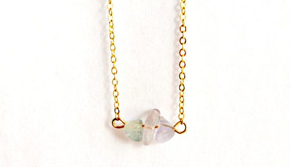 Fluorite Necklace Dainty Crystal Pendant Gold by IndigoLizard