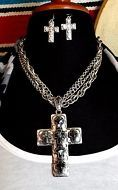 Cowgirl Bling Gypsy Southwestern Silver tone Spanish style CROSS necklace set