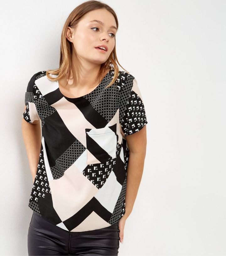 Pink Geometric Print T-shirt | New Look