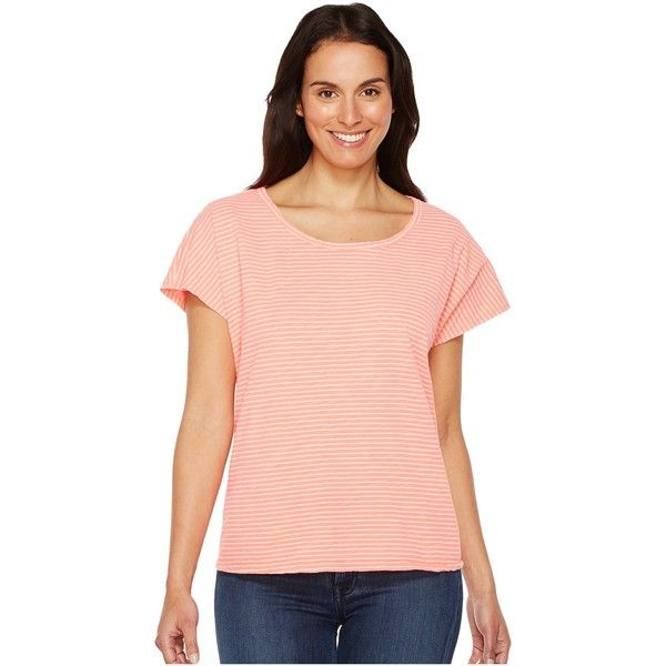 Fresh Produce Pinstripe Keepsake Tee (Sunset Coral) Women's T Shirt ($39) ❤ liked on Polyvore featuring tops, t-shirts, multi color t shirts, beach t shirts, beach tops, garment dyed t shirt and slouchy t shirt
