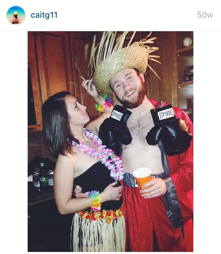 Clever DIY Halloween costume for college couples or duos! Hawaiian Punch Costume. #halloween #pun #couple #costume #DIY