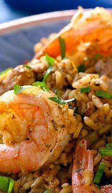 Shrimp and Chicken Sausage Jambalaya - A traditional jambalaya—Creole for everything but the kitchen sink!