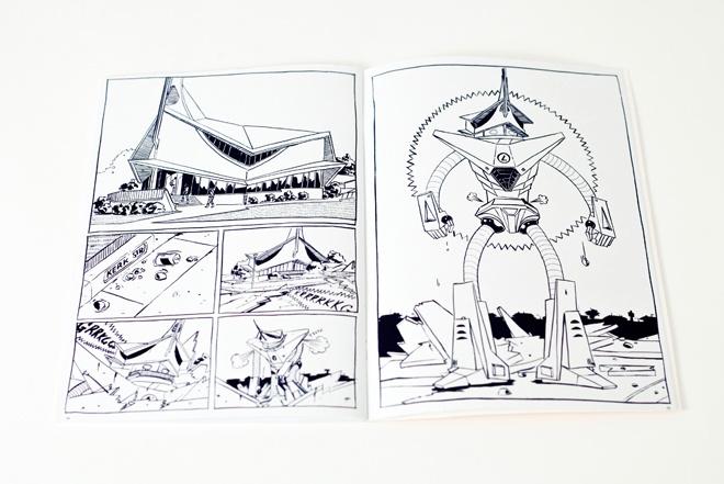 "Spread from ""AKSIESPAN"" comic by Hanno van Zyl."