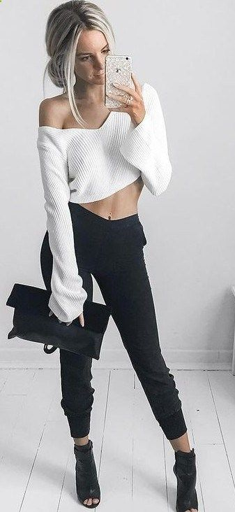 RORESS closet ideas #women fashion outfit #clothing style apparel White Comfy Knit Black Pants