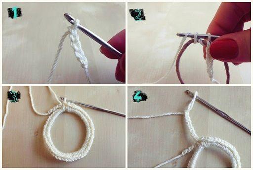 Como hacer ligas para el cabello tejidas a crochet (2)