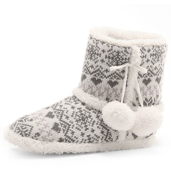 Grey fairisle slipper boot ($21) ❤ liked on Polyvore featuring ...