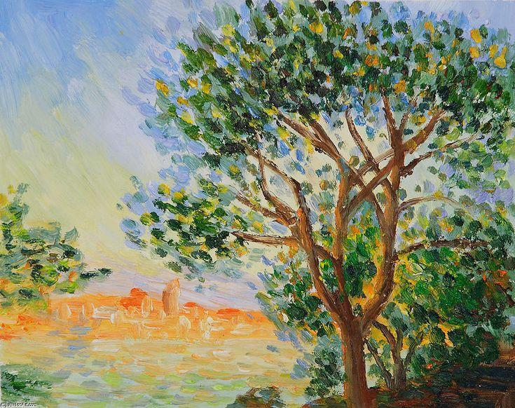 Acheter Tableau 'Vue d Antibes' de Claude Monet - Achat d'une reproduction sur toile peinte à la main , Reproduction peinture, copie de tableau, reproduction d'oeuvres d'art sur toile