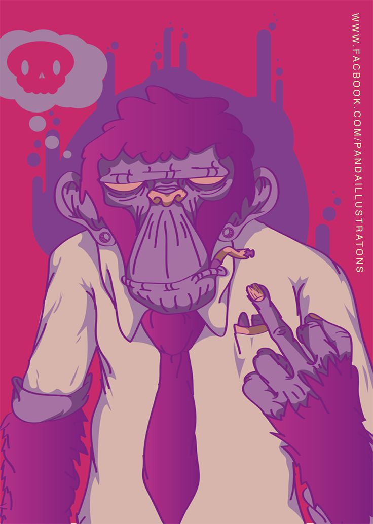 an illustration in digital format that I made based in the urban culture that represents the society now a days in a world that are unpleasant with it in some many ways. if you want to see more of my work you can follow me in my page https://www.behance.net/pandahance #monkey #skull #purple #fuck #mad #panda #illustration #vector #illustrator