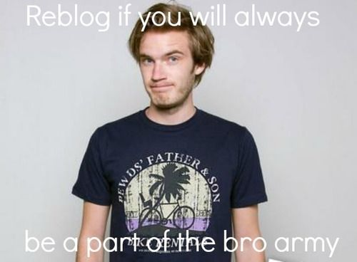 Pewds i will always ALWAYS be a bro now and fore ever.