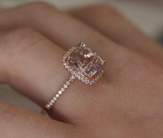 Perzik Sapphire Engagement Ring 14k Rose Gold Diamond Ring