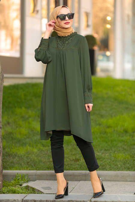 Neva Style - Khaki Hijab Tunic 2265HK