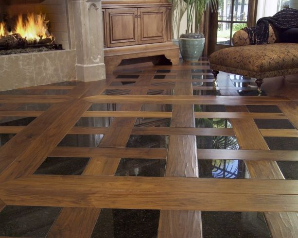 Footworn Walnut With Tile Inlay | Carlisle Wide Plank Flooring