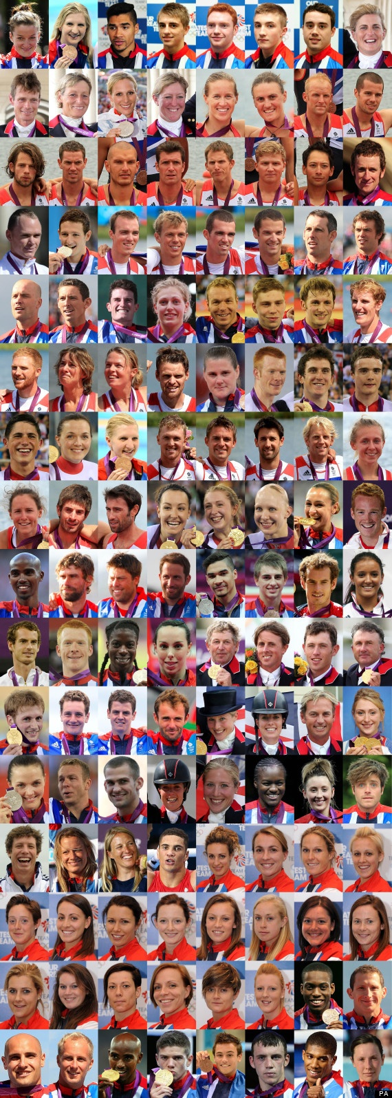 Every Team GB London 2012 Olympics medal winner. What an inspiring bunch of people.