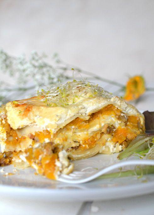 Lasagnes végétariennes ~ Butternut, châtaignes & protéines de soja