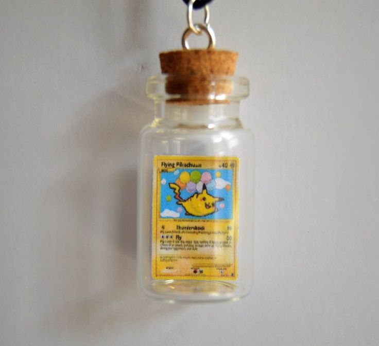 READY TO SHIP, Bottled Flying Pikachu Pokemon Card Necklace/Phone Charm/Keychain by TiffyCuppyCake on Etsy https://www.etsy.com/listing/452166746/ready-to-ship-bottled-flying-pikachu