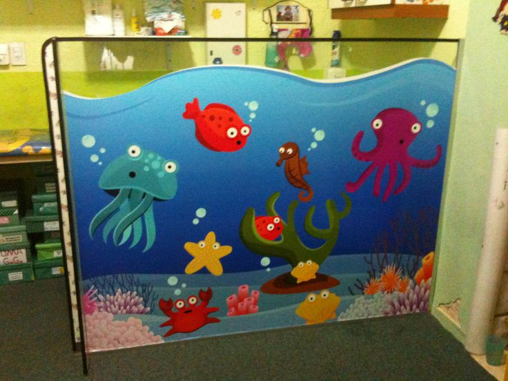 Panel separador con grafica decorativa para Jardín - Sala del Mar
