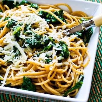 Whole Wheat Spaghetti with Garlic, Chard, and Pecorino-Romano Cheese