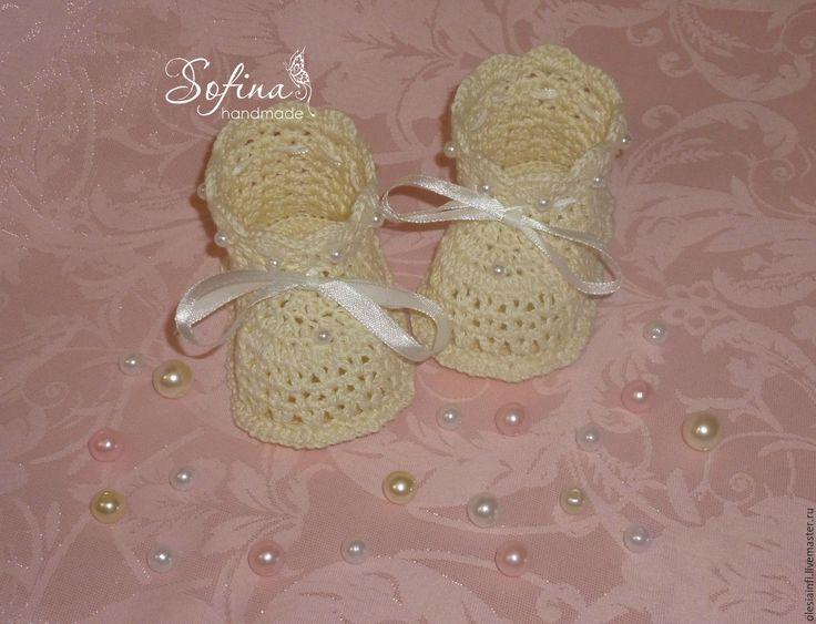 Купить Пинетки Нежность для девочки, вязаные пинетки - комбинированный, пинетки, пинетки вязаные, крестильные пинетки