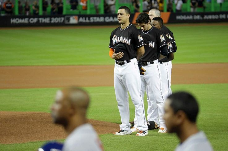 Miami Marlins' Giancarlo Stanton, left, and Christian Yelich,
