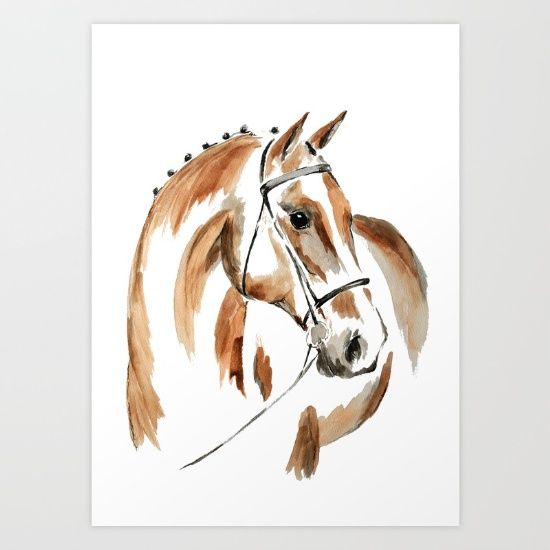 Bay Watercolour Horse Art Print by Art By Chrissy Taylor - $22.00