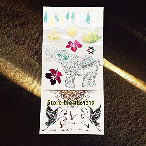 GVDTYKJF Tattoo Sticker 1 Piece Rose Gold Flash Metallic Tattoos Sticker Feather Indian Totem Chains Gem Design Tattoos Body Art Arm Ggmt029 #