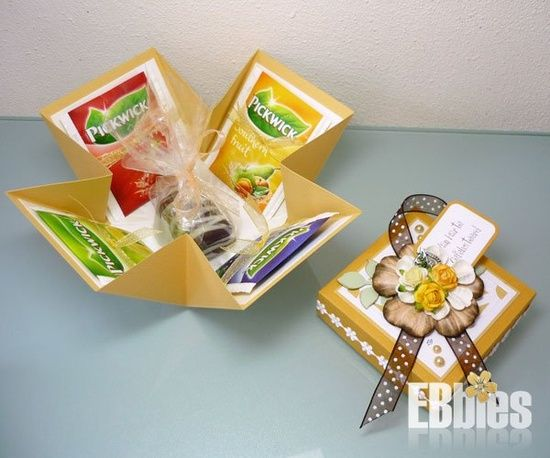 Leuke manier om thee-cadeautje te maken, zoek op explosiedoosje voor patroon
