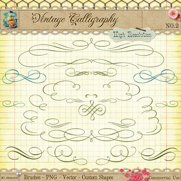 Free Vintage Calligraphy Clip Art and Brushes - Free Pretty Things For You