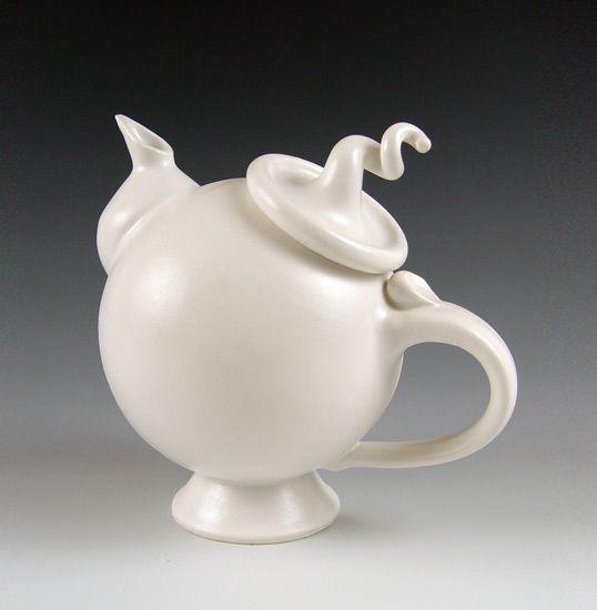 Ceramic Teapot  Created by Lilach Lotan  Wheel-thrown and hand-built glazed porcelain teapot.