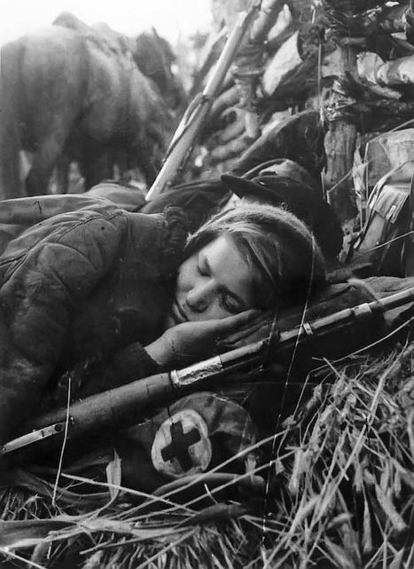 "In Soviet Union women participating in WWII were erased from history, remaining as the occasional anecdote of a female sniper or simply as medical staff or, at best, radio specialists. The word ""front-line girl"" (frontovichka) became a terrible insult, synonimous to ""whore"". Hundreds thousand of girls who went to war to protect their homeland with their very lives, who came back injured or disabled, with medals for valor, had to hide it to protect themselves from public scorn."