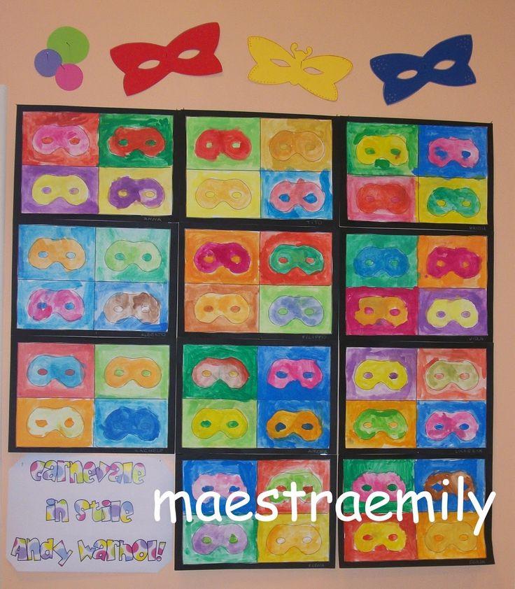 scuola dell'infanzia, bambini, classe, aula, sezione, chiocciole, maschere, arte, carnevale, Andy Warhol,
