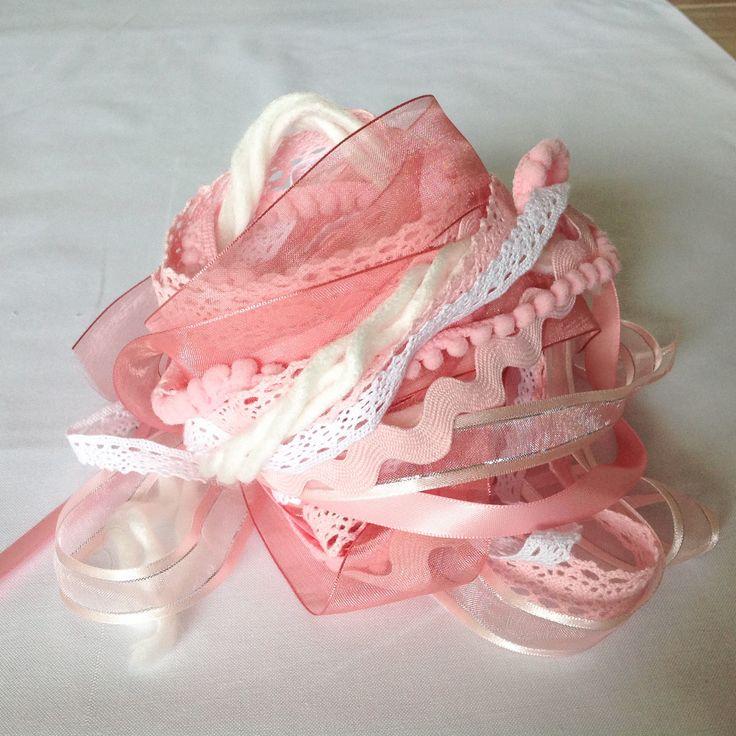 Art Fiber Bundle - Strawberries and Cream, Weaving, Pink, by AltitudeFarmStore on Etsy