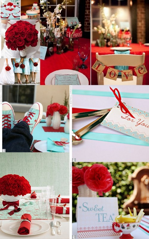 Blue & Red Coca-cola inspired wedding- reminds me of the 50's